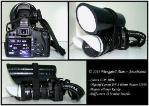 Configuration Macro Appareil Photo Canon et bagues allonge